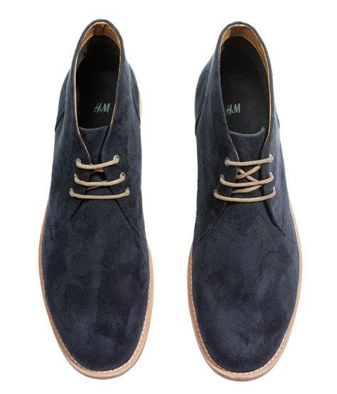 h m desert boots in blue for lyst