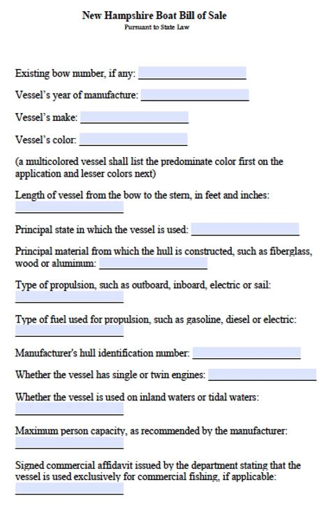 Nh Boat Bill Of Sale Template Free New Hshire Boat Bill Of Sale Form Pdf Word Doc