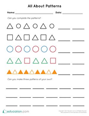 pattern continuation worksheet patterns worksheets free printables education com