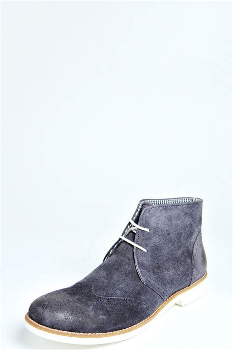 boohoo mens contrast sole suede brogue boots in navy blue