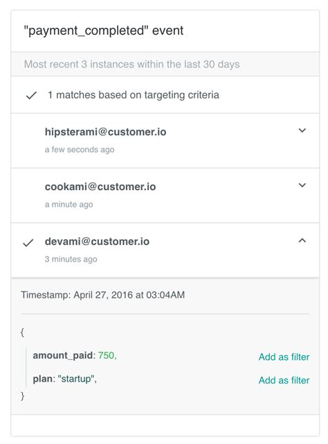 using filter text to match specific events step 4 how to set up an event triggered caign customer io