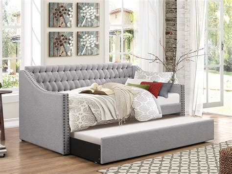 Daybed With Trundle Bed Bedroom Acme Melbourne Upholstered Day Bed With Trundle Daybeds With Upholstered Daybed And
