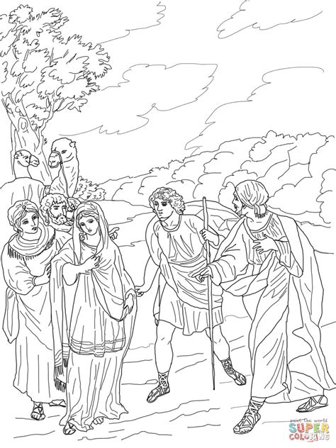 isaac first meets rebekah coloring page free printable