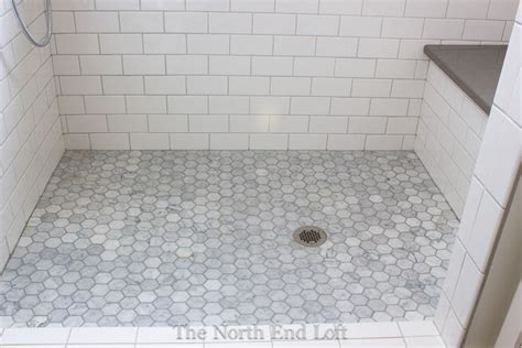 39 grey mosaic bathroom floor tiles ideas and pictures the shower floor is hexagon shaped marble tiles with