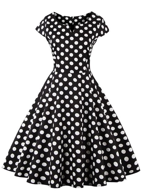 polka dot pattern black polka dot pattern retro style dress in black 4xl