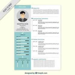 professional resume in flat style vector free