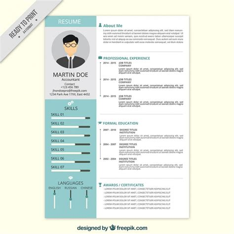 resume format freepik professional resume in flat style vector free