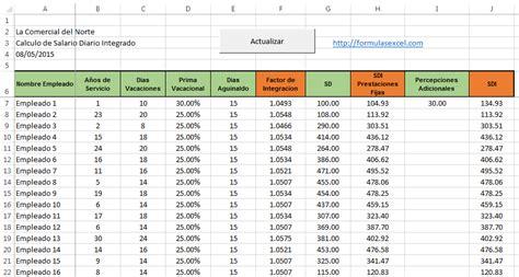 como calcular sueldo diario por vacaciones calcular sdi en excel formulas excel