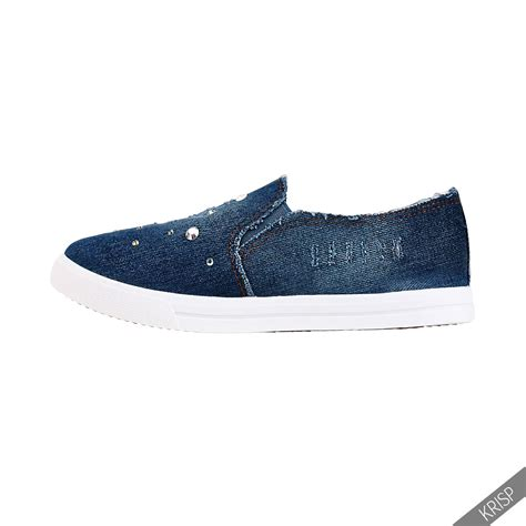 sport shoes for flat womens casual slip on denim canvas flat creepers