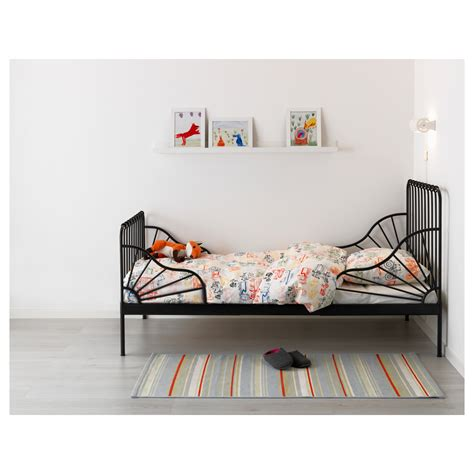 Futon Schweiz by Minnen Ext Bed Frame With Slatted Bed Base Black 80x200 Cm