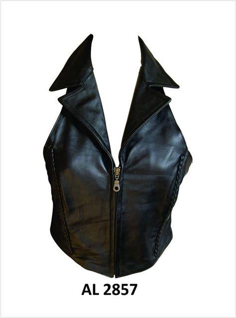Zip Front Halter Top black lambskin leather halter top w collar zip front