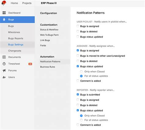 notification pattern js permissions and notifications for bugs zoho bugtracker