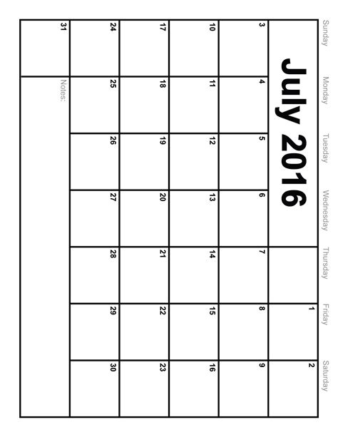 Printable Calendars July 2016 Calendar Printable Template 8 Templates