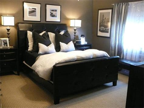 bedroom with black bed black and white bedding contemporary bedroom hgtv