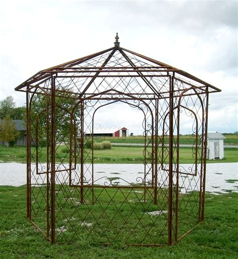 metal gazebo wrought iron gazebo arbor metal open windows