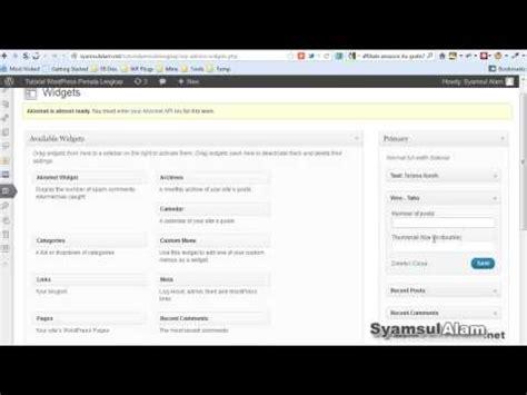 video tutorial wordpress indonesia tutorial wordpress cara menambahkan widget dan fungsinya