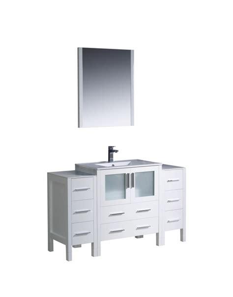 54 bathroom vanity single sink 54 inch single sink bathroom vanity in white with side