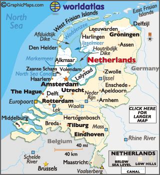 netherlands mountains map netherlands large color map