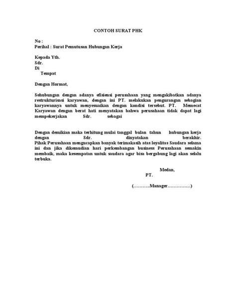 contoh surat pemutusan hubungan kerja phk contohsuratmu
