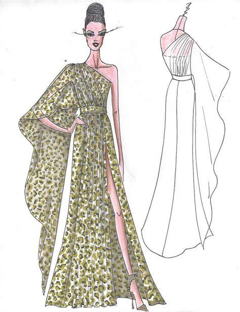 Dress Batwing Jfashion fashion sketch by nick verreos of nikolaki printed silk chiffon one shoulder exaggerated batwing