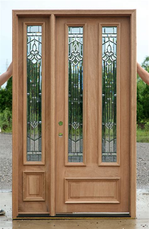 Front Door With Sidelight Solid Mahogany Door Exterior Wood Door With 1 Sidelight