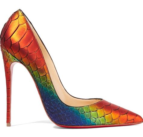colorful pumps christian louboutin rainbow python so kate 120 pumps