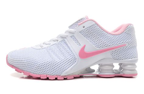 brand nike shox white pink s running shoes