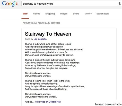 bing starts showing full song lyrics right in search results google search starts displaying full song lyrics on the web