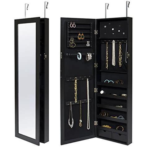 locking mirror jewelry armoire slim elegant wall door mounted locking mirrored black