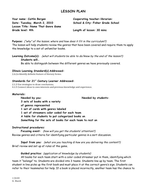 lesson plan on biography genre practicum genre lesson plan