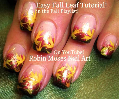 easy nail art leaf easy autumn leaves pretty fall leaf nails art design