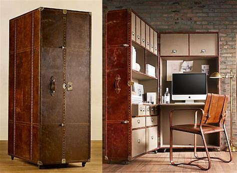 Antique Looking Mayfair Steamer Secretary Trunk Opens Into