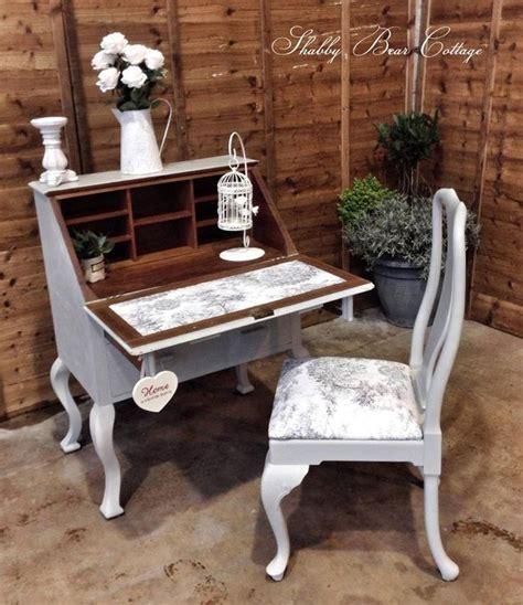 painted vintage antique shabby chic bureau writing desk and chair queen anne desk pinterest