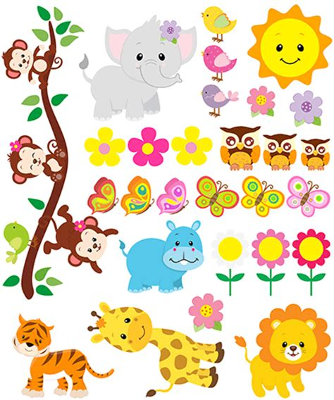 Baby Animal Wall Stickers kit children s wall stickers jungle animals