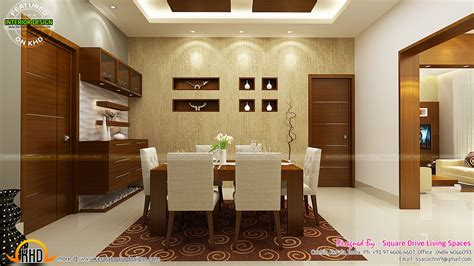Dining Kitchen Living Room Interior Designs Kerala Home | contemporary kitchen dining and living room kerala home
