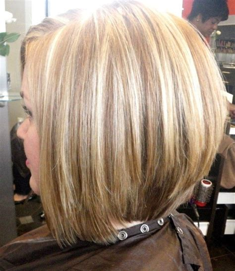 med length bob graduated layers inverted bob haircut back view stacked bob inverted bob