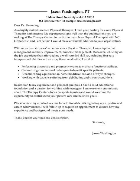 physical therapist cover letter exles healthcare cover letter exles livecareer