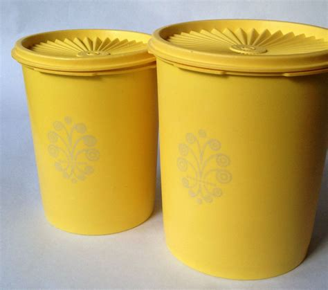 yellow canister sets kitchen tupperware 2 canister set vintage harvest gold