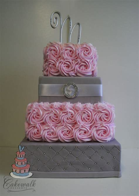 Wedding Cake Quilting by 4 Tier Square Wedding Cake Pink Buttercream Roses Grey