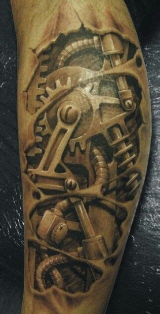 biomechanical tattoo spiderman steunk gearwork 3d steam punk with gears 3d tattoo