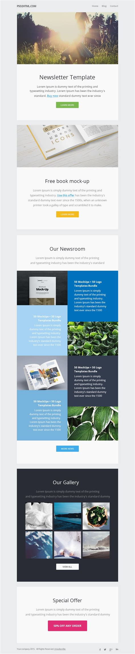 Free Email Newsletter Templates Psd 187 Css Author Newsletter Design Templates