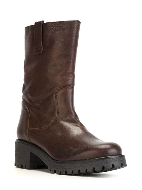 s h boots lyst p a r o s h mid calf length boots in brown