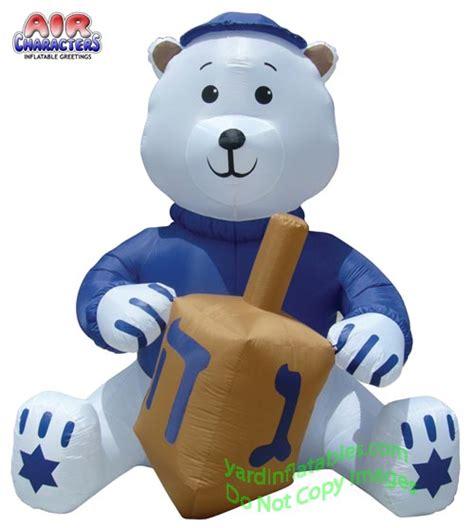 Jewish Decorations Home air blown inflatable jewish hanukkah bear with dreidel and