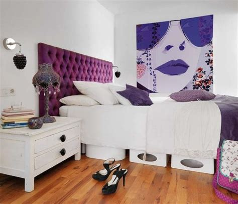 Purple Headboard by Fashionable Apartment Loft Bedroom With Bright Purple