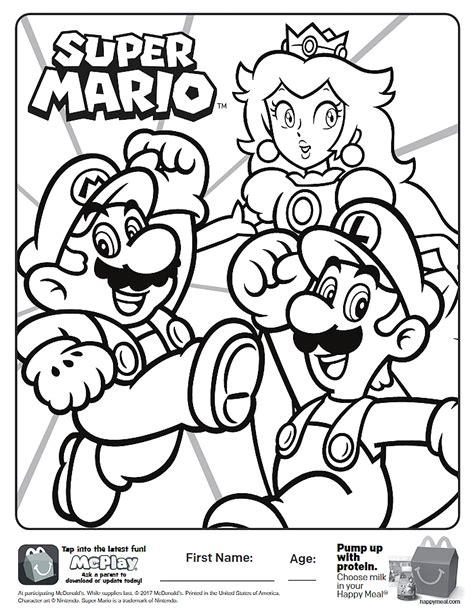 mario coloring here is the happy meal mario coloring page click