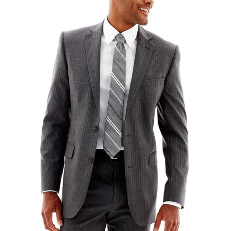 jcpenney stafford gray pinstripe suit jacket big
