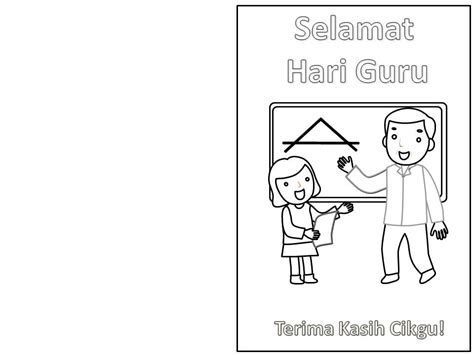 gambar kartun kad hari guru kad hari guru gambar mewarna colouring picture