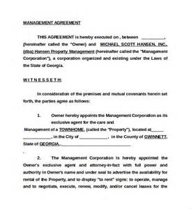 Management Agreement Template by Sle Management Agreement 11 Free Documents In Pdf Word