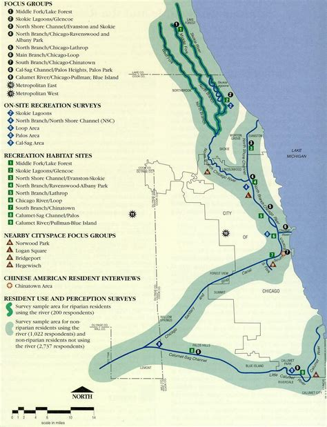 chicago riverwalk map map of chicago river with emphasis on recreational use