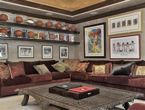 cave shelves display the sports valuables on shelves in the